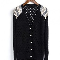 Black Lace Long Sleeve Sweater$43.00