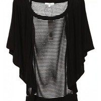 Women New Style Montage Scoop Chiffon and Cotton Short Sleeve Muffs Black Top S/M/L@IM511252070b $29.67 only in eFexcity.com.