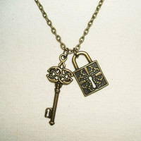 LOCK And KEY Necklace Pendant Neo Victorian Inspired Jewelry Antiqued Bronze