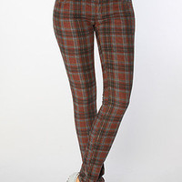The Printed Plaid Skinny Cord in Burgundy Combo