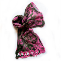 Felted silk scarf in green and pink-Silk chiffon scarf felted by hand-Pink green felted scarf