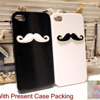 Funny Alloy Mustache iphone 4 4 s case Cover with Present Case Packing (Black and white Color available)