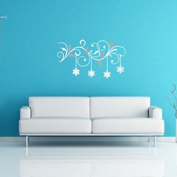 Swirls and Leaves with Frozen Snowflakes Vinyl Wall Decal 22484