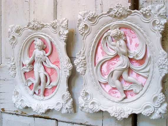 Wall Decor Shabby Chic : Vintage plaster shabby chic wall plaques from
