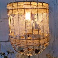Rusty birdcage Paris hanging light metal fixture hand painted white adorned with tattered material Anita Spero