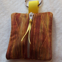 Keychain, Zip Purse, Coin Purse, Small Items Pouch, Brown Wood Tone