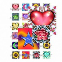 Fun Digital Collage Sheet 1 by 1 inch SQUARES by barbosaart on Zibbet