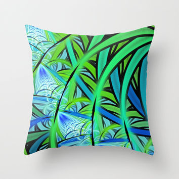 Jungle Waterfall Throw Pillow by Lyle Hatch