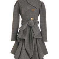 ModCloth Vintage Inspired Long Long Sleeve Tier for the Party Coat in Plaid