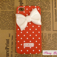 Unique iPhone 4 case cute iPhone 4s case, iPhone cover, ustomize white bow iPhone 4/4s case