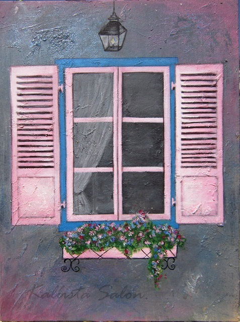 Pink window painting acrylic wall art from kallistasalon for Painting on glass windows with acrylics