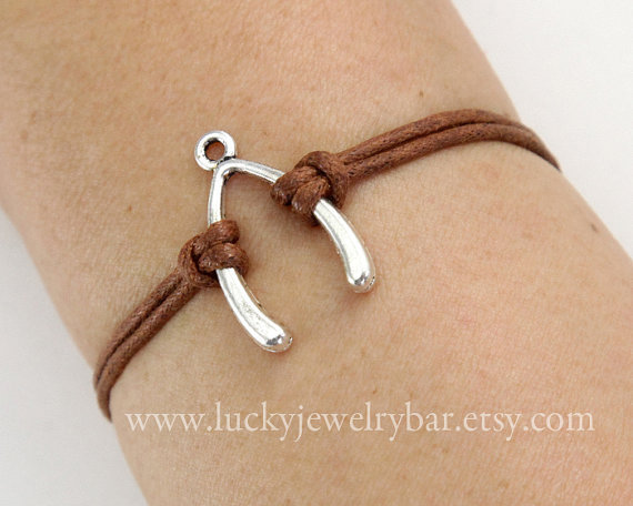 Bracelet---antique silver Wishing bone,  wax cords bracelet