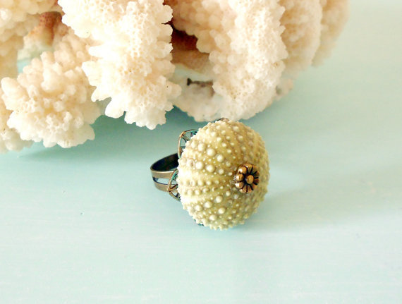 SUMMER SALE 15% off OOAK Natural Sea Urchin Adjustable Ring in Light Green & Antique Brass with Daisy Stamping, Filigree and Patina