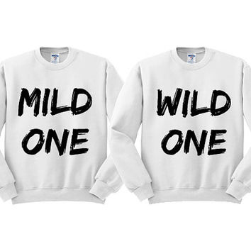 White Crewneck Mild One Wild One Best Friends Sweatshirt Sweater Jumper Pullover