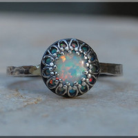 Light Opal Ring, Crown Bezel Set Quartz Ring, Sterling Silver gemstone Ring, Opal Cocktail Ring, Stacking Ring, Fire Opal Promise Ring