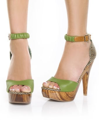Mona Mia Trinidad Green & Tan Woven Platform Pumps - $46.00 : Fashion Pumps at LuLus.com