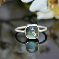 Faceted Green Amethyst sterling silver cushion square shape stacking bezel set ring - Size 6, 7 or 8