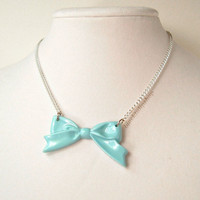 Retro Blue Bow Necklace Sweet Lolita Princess