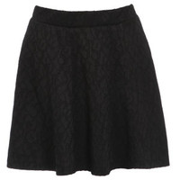 Damned Delux Women's In Bonded Lace Skater Skirt - Black