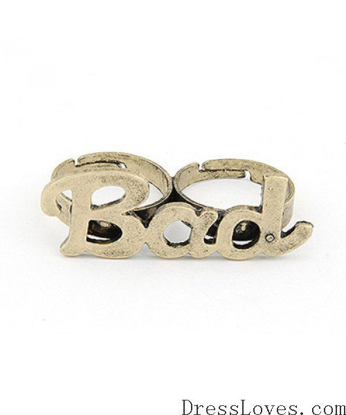 Gold BAD Two Finger Ring@11021330