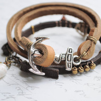 Summer Bracelet No.55-  Double wrap soft leather anchor clasp bracelet