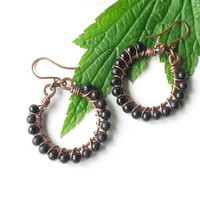 Black beaded earrings - wire wrapped copper hoops with glass beads
