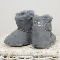 Personalised Grey 100% Sheepskin Booties