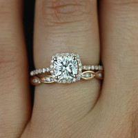 Barra 6mm & Ember 14kt Rose Gold FB Cushion Moissanite and Diamond Halo Wedding Set (Other metals and stone options available)