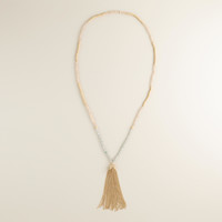 Tonal Gold Tassel Necklace - World Market