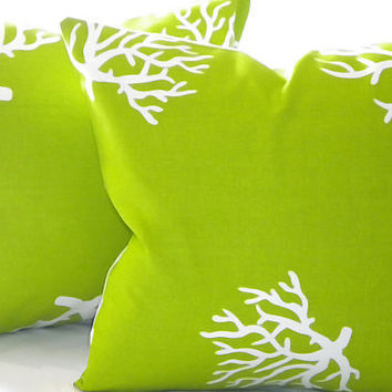"Throw Pillow cover, Chartreuse and  White Coral indoor outdoor beach - ""16 x 16"""