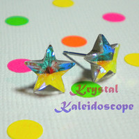 Adorable Iridescent Crystal AB Rivoli Stars - Aurora Borealis - Post Earrings handmade with Swarovski Elements, 10mm Studs