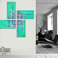 """Original abstract painting. 50x50"""" 4 piece canvas art. Large painting. Aqua painting with purple, black, white. Modern wall art."""