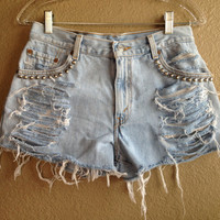 High Waisted Distressed Studded Levi's Shorts (Medium)
