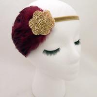 The Lucille - burgundy Gatsby feather fascinator, dark red feather headband, 1920s costume, burgundy gold headpiece, 1920s style hair