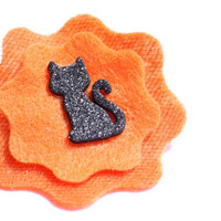 Halloween Headband Orange  - Orange Felt Flower Skinny Headband with Black Cat
