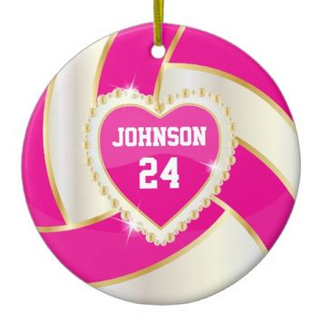 Elegant Hot Pink, White and Gold Volleyball