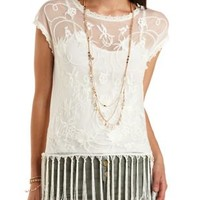 Crocheted Mesh Tee with Tassels by Charlotte Russe - Ivory
