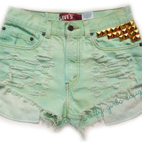 Gold Studded Mint Green Levi Denim Shorts (Medium)