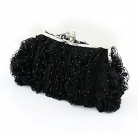 [$24.70 ] Elegant Black Floral Lace Evening Handbags/ Clutches With Beadings - Dressilyme.com