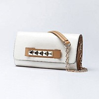 [$48.59 ] Brief Fashion PU Clamshell-style White One Shoulder Handbag - Dressilyme.com