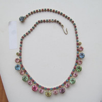 Weiss multi colored rhinestone choker,sparkling decorative jewellery,Vintage Weiss