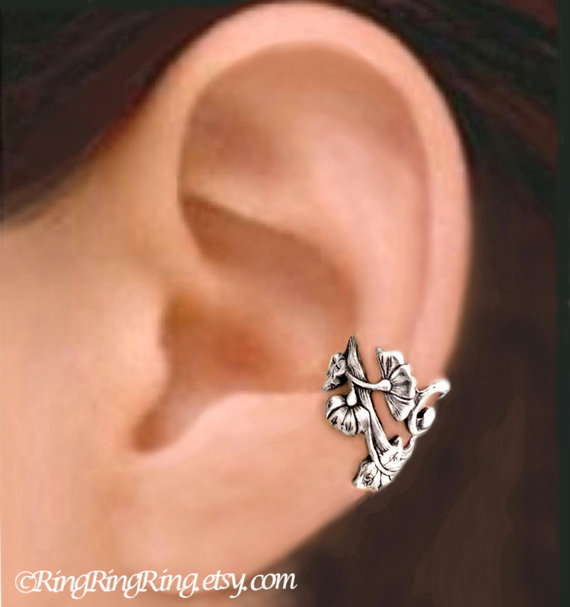 Left Art Nouveau silver ear cuff earring jewelry -  Unique flower earcuff  080512
