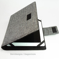 iPad 3 / iPad 2 case cover sleeve - Book style book-cover case - Black n white herringbone