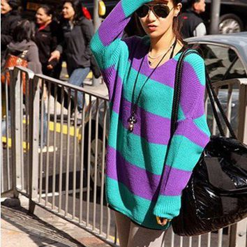 Women Knitting V-Neck Batwing Long Sleeve Purple Free Size Sweater@A142