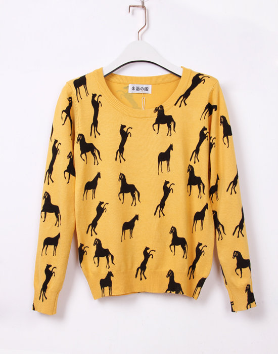 Yellow Long Sleeve Horse Print Slim Jumper - Sheinside.com