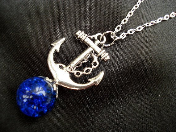 Anchor Deep Blue Glass Fried Marble Nautical Necklace