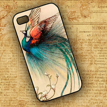 Iphone 4 case - Peacock art iPhone 4 cell case, iPhone 4 cover, Iphone 4s case - Vintage Peacock image cellphone cover (9577)