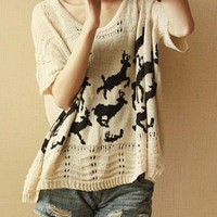 Batwing Sleeve Loose Deer Sweater$46.00