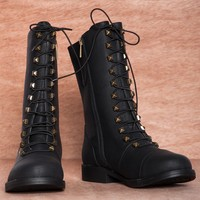 Salute the Boots Studded Lace Up Combat Boots GREED - Black