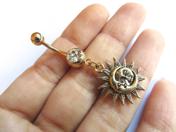 Celestial golden moon and sun belly from azeeta designs for Belly button jewelry store